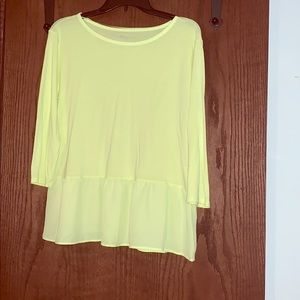 Stylus brand bright yellow 3/4 sleeve shirt.